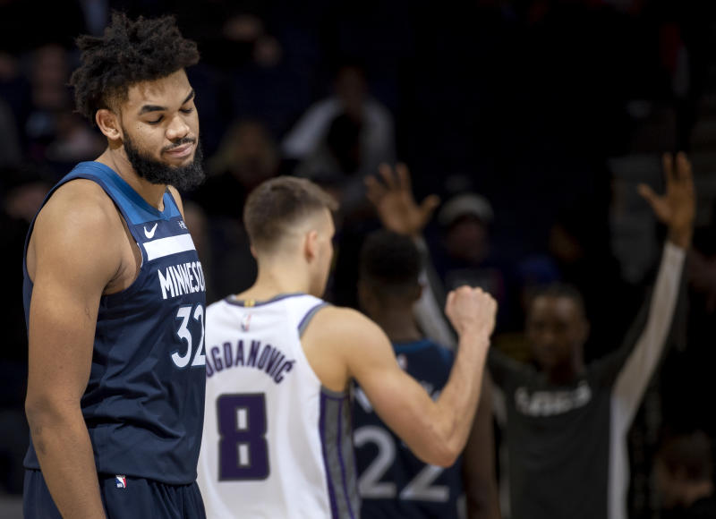 Karl-Anthony Towns has not won a game since Thanksgiving. (Carlos Gonzalez/Star Tribune via Getty Images)