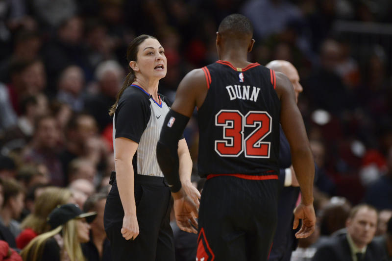Lauren Holtkamp-Sterling is one of only four female officials in the NBA. (AP Photo/Paul Beaty)