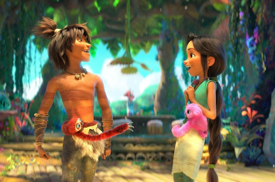 Guy (Ryan Reynolds) and Dawn (Kelly Marie Tran) in The Croods: A New Age.  (Movie still: United International Pictures)