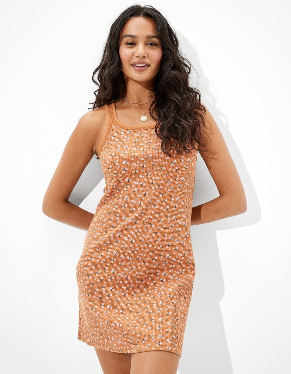 <p>This <span>AE Waffle Scoop Neck Bodycon Mini Dress</span> ($40) is a printed twist on an otherwise basic everyday dress. We love the relaxed fit and modern look.</p>