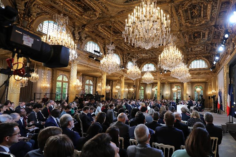 The Macron press conferencer took place in the grand Elysee Palace in Paris (AFP Photo/ludovic MARIN)