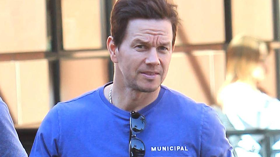 Mark Wahlberg is seen wearing a blue t-shirt on March 3, 2020 in Los Angeles, California.