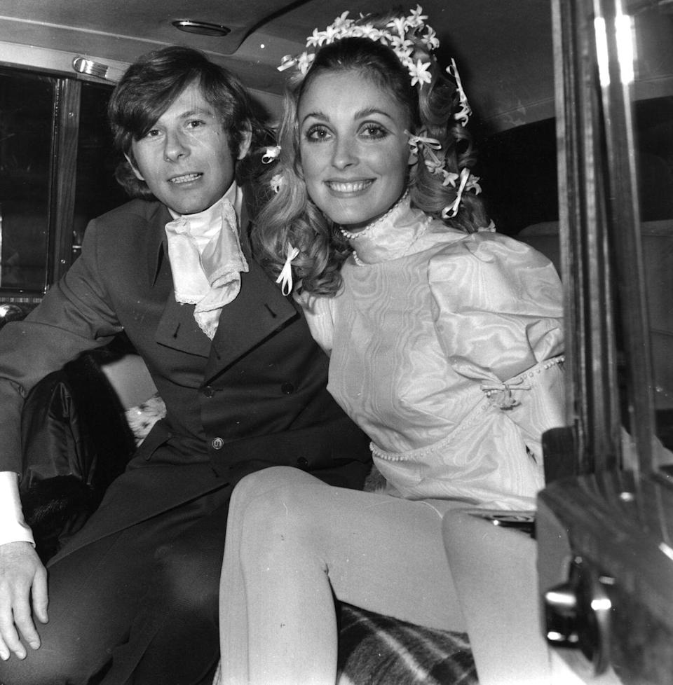 <p>Polish film director Roman Polanski and American actress Sharon Tate exit the car at their wedding in 1968. The marriage was the second for Polanski and the first for Tate – who was murdered a year later by the Manson Family. Polanski went on to marry actress Emmanuelle Seigner in 1989. The pair have two children together.</p>