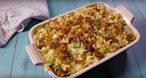 """<p>This noodle bake is made with noodles, seasoned Brussels sprouts, crispy shallots, our BFF bacon, and of course, it's all held together with cheese (what else?).</p><p>Get the recipe from <a href=""""https://www.delish.com/cooking/recipe-ideas/recipes/a49904/bacon-brussels-sprouts-noodle-bake-recipe/"""" rel=""""nofollow noopener"""" target=""""_blank"""" data-ylk=""""slk:Delish"""" class=""""link rapid-noclick-resp"""">Delish</a>.</p>"""