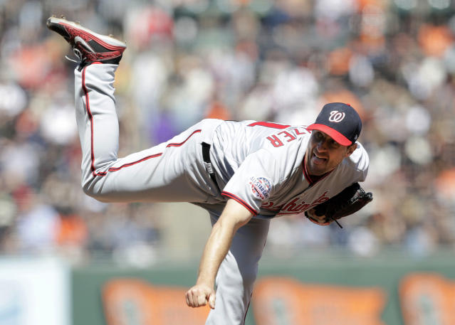 Washington Nationals starting pitcher Max Scherzer throws to the San Francisco Giants during the sixth inning of a baseball game Wednesday, April 25, 2018, in San Francisco. (AP Photo/Marcio Jose Sanchez)