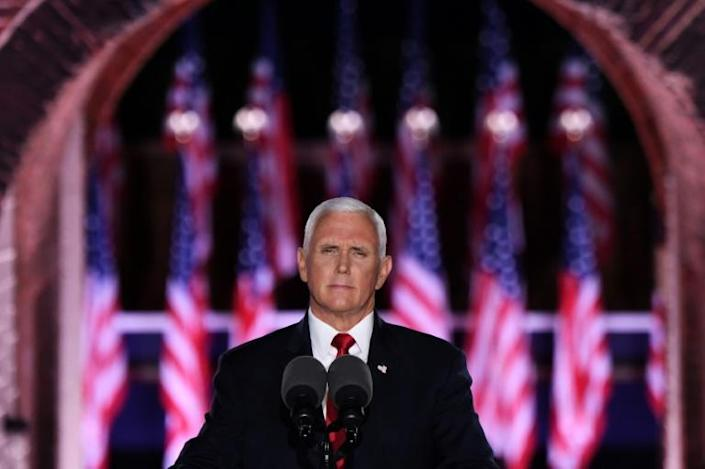 US Vice President Mike Pence delivered the main speech during the third night of the Republican National Convention from Fort McHenry National Monument in Baltimore, Maryland