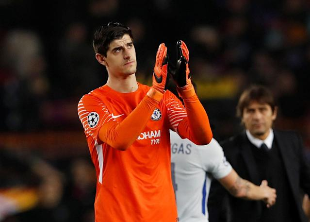 Soccer Football - Champions League Round of 16 Second Leg - FC Barcelona vs Chelsea - Camp Nou, Barcelona, Spain - March 14, 2018 Chelsea's Thibaut Courtois looks dejected after the match Action Images via Reuters/Lee Smith