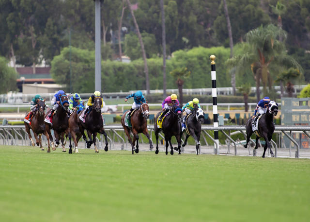 In this image provided by Benoit Photo, Pee Wee Reese, right, with Flavien Prat aboard, wins the Grade II $200,000 Eddie D Stakes horse race Friday, Sept. 27, 2019, at Santa Anita Park in Arcadia, Calif. (Benoit Photo via AP)