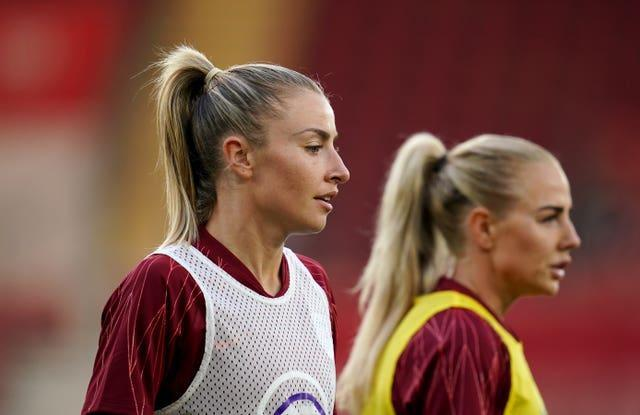 Leah Williamson (left) captained England in last month's matches against North Macedonia and Luxembourg (John Walton/PA).