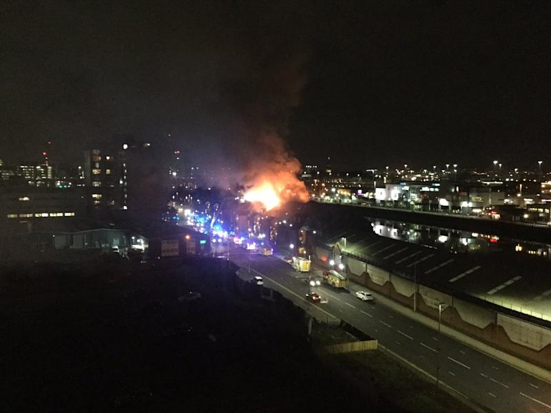 <strong>A large blaze at Lancefield Quay in Glasgow city centre.</strong> (Photo: Press Association Images)