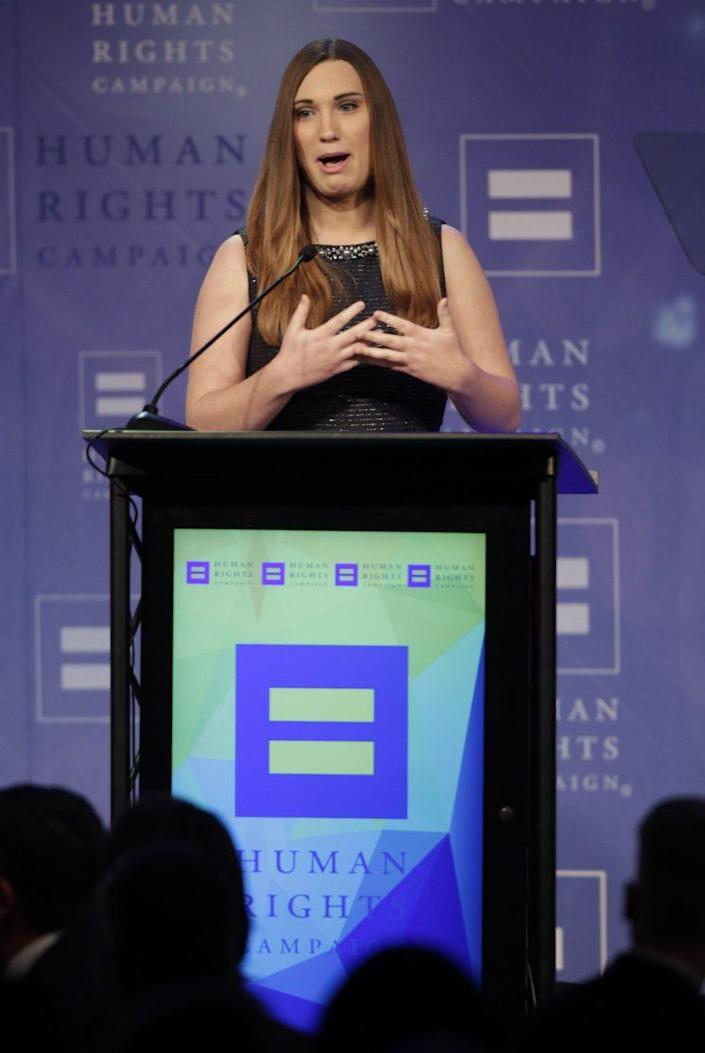 Sarah McBride speaks at a Human Rights Campaign dinner in Nashville, March 5, 2016. (Photo: Wade Payne/Invision/AP)