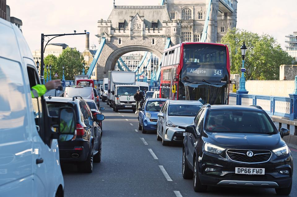"Bumper to bumper traffic on an approach road to Tower Bridge in London, the morning after Prime Minister Boris Johnson said people who cannot work from home should be ""actively encouraged"" to return to their jobs from Monday."
