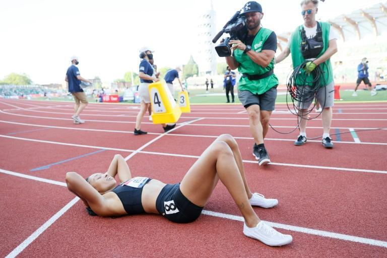 Allyson Felix reacts after her second place in the 400m at the US track and field trials clinched her fifth consecutive Olympic appearance