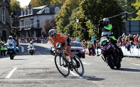 <span>Annemiek van Vleuten secured her third world title with a brilliant solo ride</span> <span>Credit: AP </span>