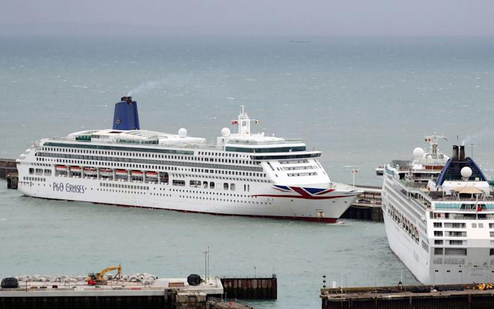 P&O cruise ships docked at the Port of Dover in Kent - Gareth Fuller/PA