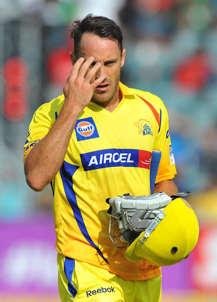 JOHANNESBURG, SOUTH AFRICA - OCTOBER 14:  Faf du Plessis of CSK walks off after being dismissed for 43 runs during the Champions League Twenty20 match between Chennai Super Kings and Sydney Sixers at Bidvest Wanderers Stadium on October 14, 2012 in Johannesburg, South Africa. (Photo by Duif du Toit / Gallo Images/Getty Images)