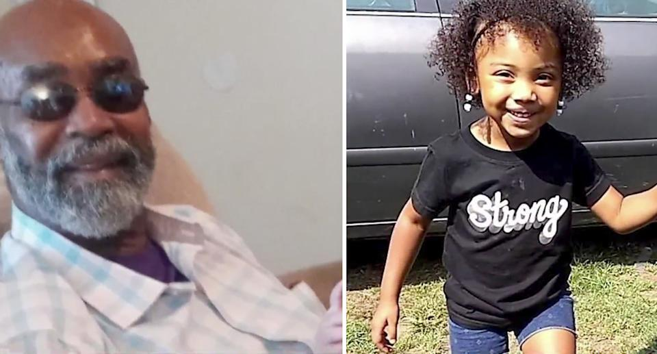 Grandfather Leon Pye, 67, is pictured left and his four-year-old granddaughter, Kaeos Yates, appears in a photo on the right.
