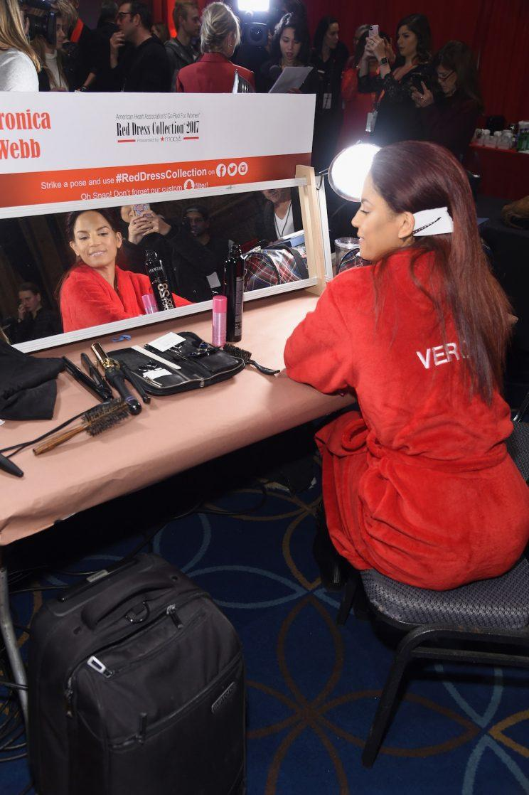 Veronica Webb backstage at the American Heart Association's Go Red For Women Red Dress Collection at Fashion Week. (Photo by Jamie McCarthy/Getty Images for AHA)