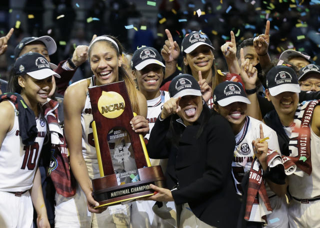 The South Carolina women's basketball team celebrates its national title last April. (AP)