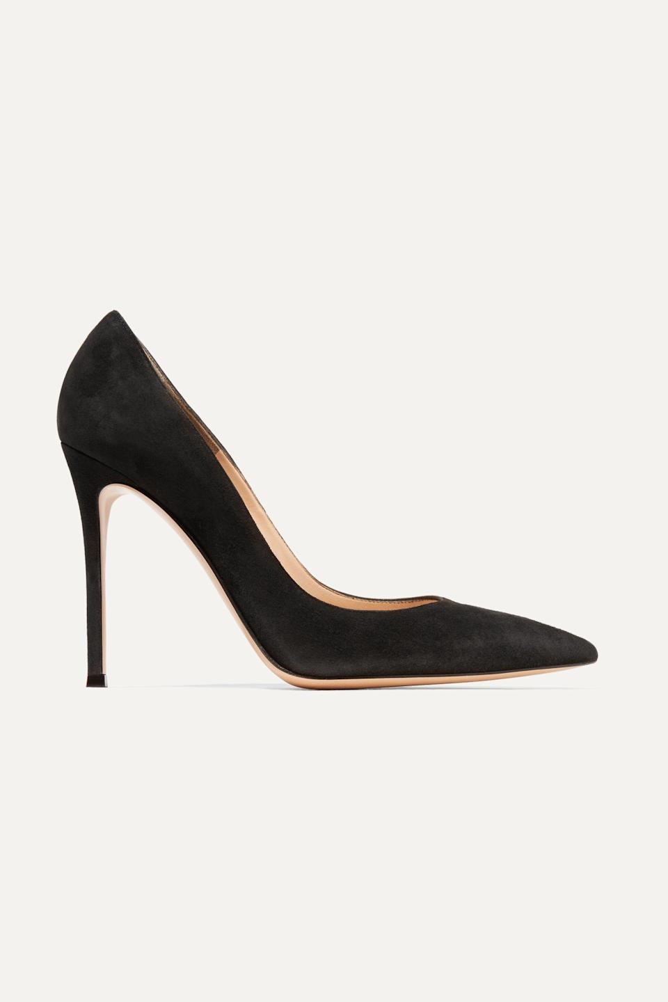 """<p><strong>Gianvito Rossi</strong></p><p>net-a-porter.com</p><p><strong>$675.00</strong></p><p><a href=""""https://go.redirectingat.com?id=74968X1596630&url=https%3A%2F%2Fwww.net-a-porter.com%2Fen-us%2Fshop%2Fproduct%2Fgianvito-rossi%2F105-suede-pumps%2F535955&sref=https%3A%2F%2Fwww.townandcountrymag.com%2Fstyle%2Ffashion-trends%2Fg10344923%2Fkate-middleton-favorite-fashion-brands-designers%2F"""" rel=""""nofollow noopener"""" target=""""_blank"""" data-ylk=""""slk:Shop Now"""" class=""""link rapid-noclick-resp"""">Shop Now</a></p><p>The duchess owns these classic pumps in at least four colors (burgundy, black, red, and nude).</p><p><strong>More: </strong><a href=""""https://www.townandcountrymag.com/style/fashion-trends/g15925659/kate-middleton-favorite-shoes/"""" rel=""""nofollow noopener"""" target=""""_blank"""" data-ylk=""""slk:Where to Buy Kate Middleton's Favorite Shoes"""" class=""""link rapid-noclick-resp"""">Where to Buy Kate Middleton's Favorite Shoes</a></p>"""