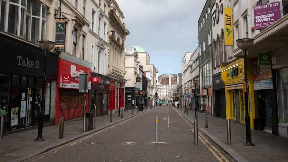Bold Street is deserted during coronavirus lock down, Liverpool, UK.