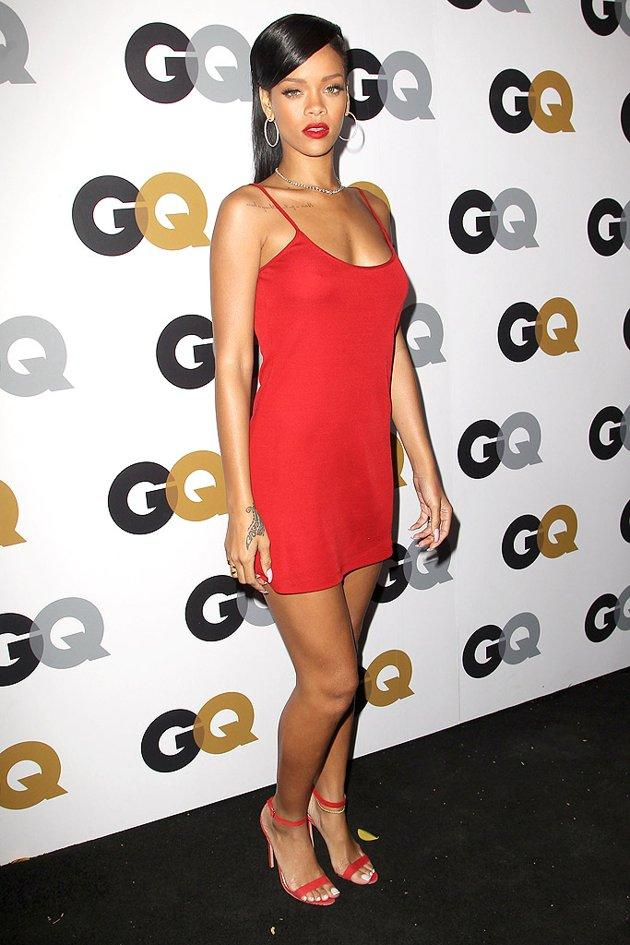 And last, but not least, we have Rihanna, who surprisingly cleaned up her act before arriving at GQ's Men of the Year party on Tuesday evening. Yes, her skimpy red Calvin Klein dress resembled a nightie, but the color looked great against her skin, as did her matching Manolo Blahnik sandals and Neil Lane diamond necklace. (11/13/2012)