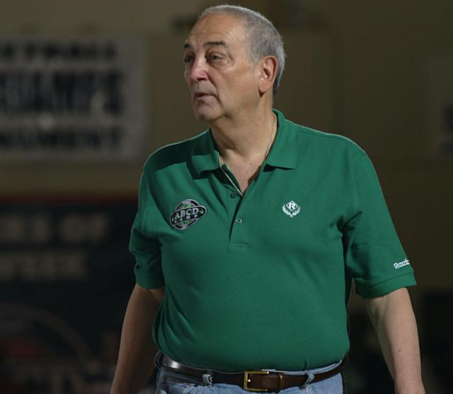 Sonny Vaccaro works a basketball camp in Teaneck, N.J., in July 2005. (Bob Leverone/Sporting News)
