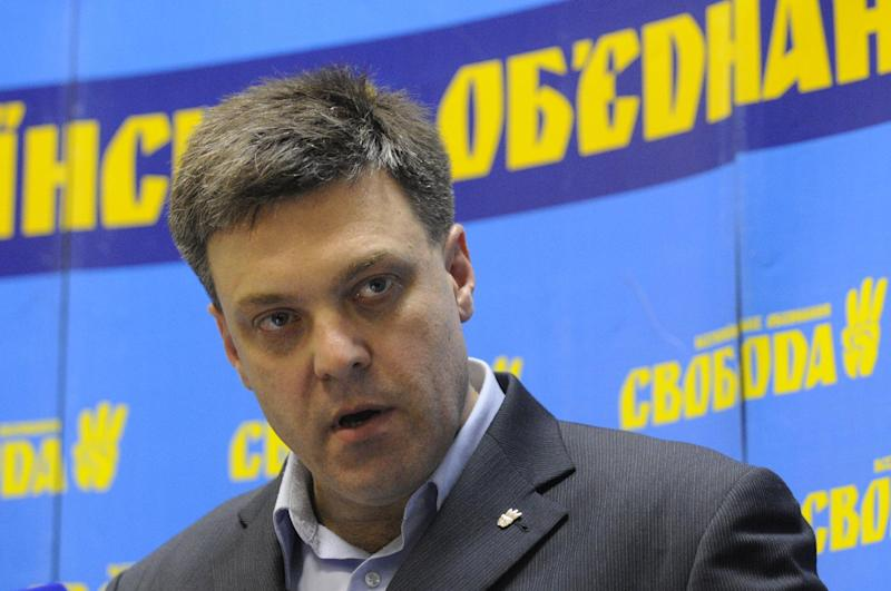 Oleh Tyahnybok, leader of the of nationalist Svoboda (Freedom) speaks to the media during a press conference in Kiev, Ukraine, Monday, Oct. 29, 2012. Ukrainian President Viktor Yanukovych's party headed toward victory in parliamentary elections but its grip on power appeared to be weakened, with the far-right Svoboda (Freedom) party taking 8 percent of the popular vote.(AP Photo/Sergei Chuzavkov)