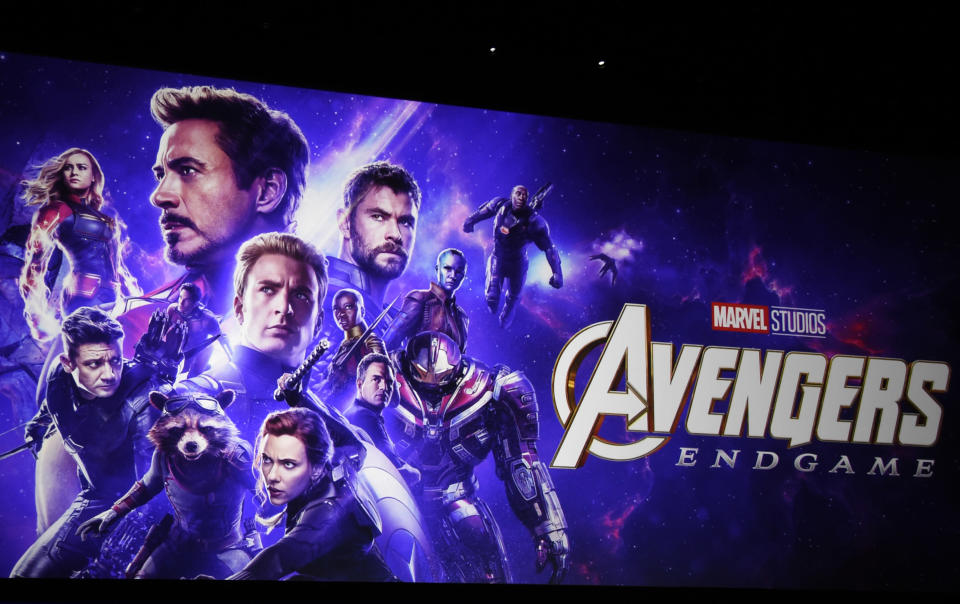 "Artwork for the Marvel film ""Avengers: Endgame"" appears on stage during the Walt Disney Studios Motion Pictures presentation at CinemaCon, the official convention of the National Association of Theatre Owners (NATO) on April 3, 2019, in Las Vegas. Disneyland said Thursday, April 8, 2021, that its new Avengers Campus will debut on June 4, nearly a year after originally planned. (Photo by Chris Pizzello/Invision/AP, File)"