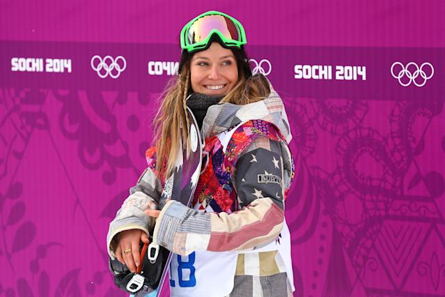 SOCHI, RUSSIA - FEBRUARY 09: Jamie Anderson of the United States waits to receive her score in her Women's Snowboard Slopestyle Finals during day two of the Sochi 2014 Winter Olympics at Rosa Khutor Extreme Park on February 9, 2014 in Sochi, Russia. (Photo by Cameron Spencer/Getty Images)