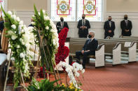 """Former President Bill Clinton arrives for the funeral services for Henry """"Hank"""" Aaron, longtime Atlanta Braves player and Hall of Famer, on Wednesday, Jan. 27, 2021 at Friendship Baptist Church in Atlanta. (Kevin D. Liles/Atlanta Braves via AP, Pool)"""