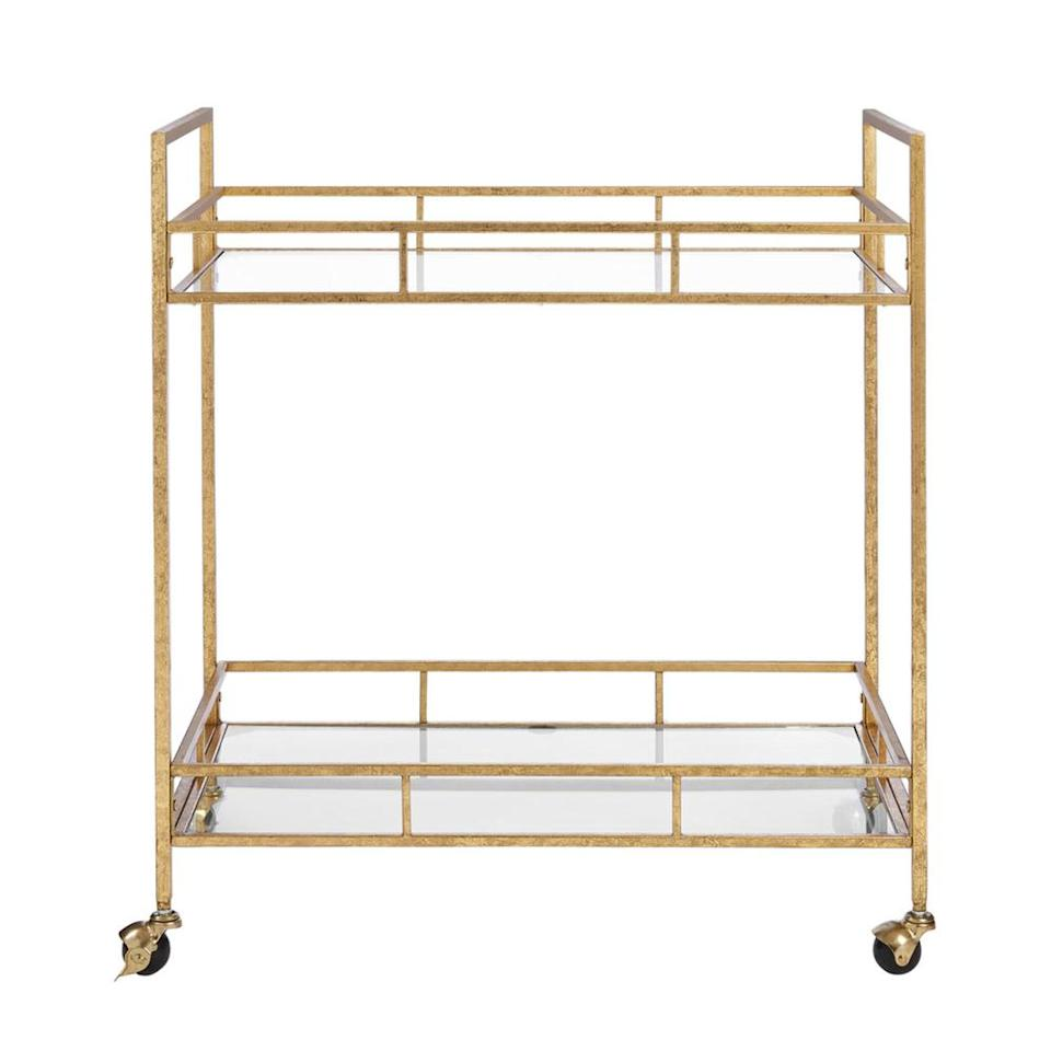Home Decorators Collection Gold Leaf Metal and Glass Rolling Bar Cart