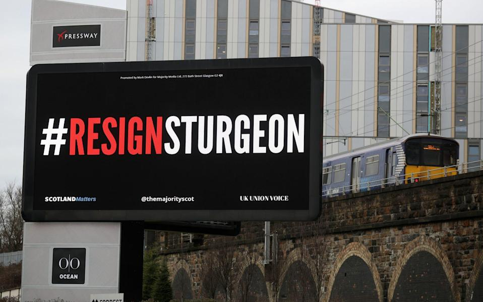 A digital billboard near the Clydeside Expressway in Glasgow showing the words #ResignSturgeon, during the launch of the #ResignSturgeon campaign, run by the The Majority, with the support of Scotland Matters - PA
