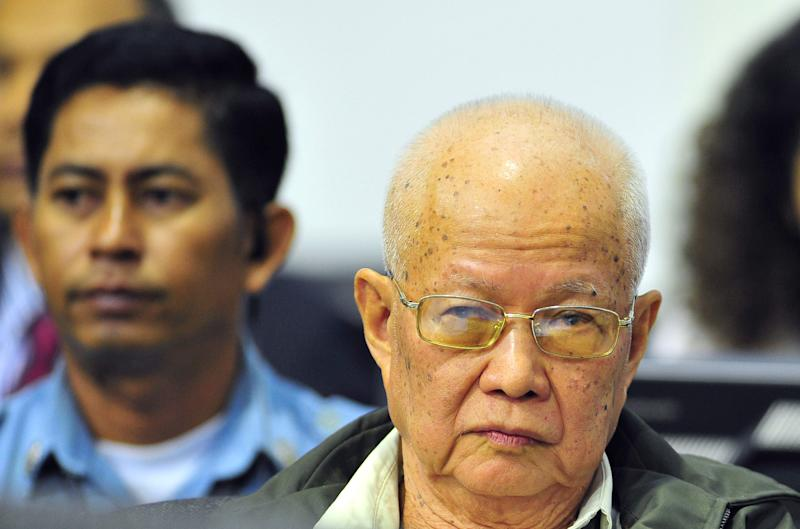 In this photo released by the Extraordinary Chambers in the Courts of Cambodia, Khieu Samphan, former head of state, sits during the second trial of the top leaders of Khmer Rouge in the court hall of the U.N.-backed war crimes tribunal, on the outskirts of Phnom Penh, Cambodia, Thursday, June 30, 2011. The tribunal on Thursday held its fourth day trial on top four surviving members of the Khmer Rouge regime, blamed for the deaths of an estimated 1.7 million Cambodians in the 1970s. (AP Photo/Extraordinary Chambers in the Courts of Cambodia, Mark Peters) EDITORIAL USE ONLY