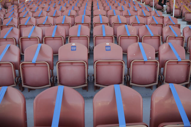 Seating is taped off to meet social distancing needs before the start of the NWSL Challenge Cup soccer match between the Portland Thorns FC and the North Carolina Courage at Zions Bank Stadium Saturday, June 27, 2020, in Herriman, Utah. (AP Photo/Rick Bowmer)
