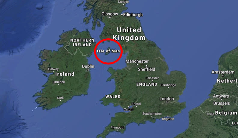 The Isle of Man is located in the Irish Sea between northern England and Ireland. Source: Google Maps