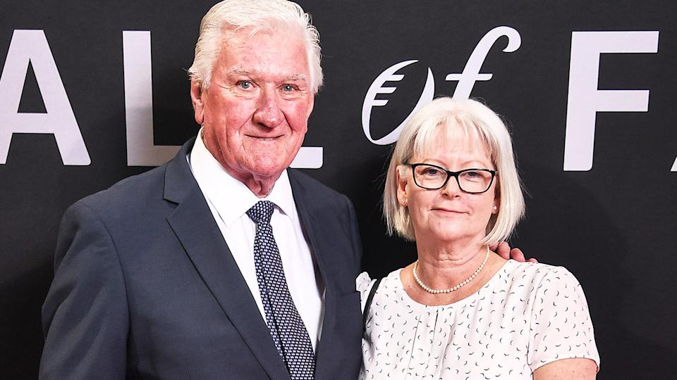 Ray Warren, pictured here with wife Cher at the NRL Hall of Fame ceremony in 2019.