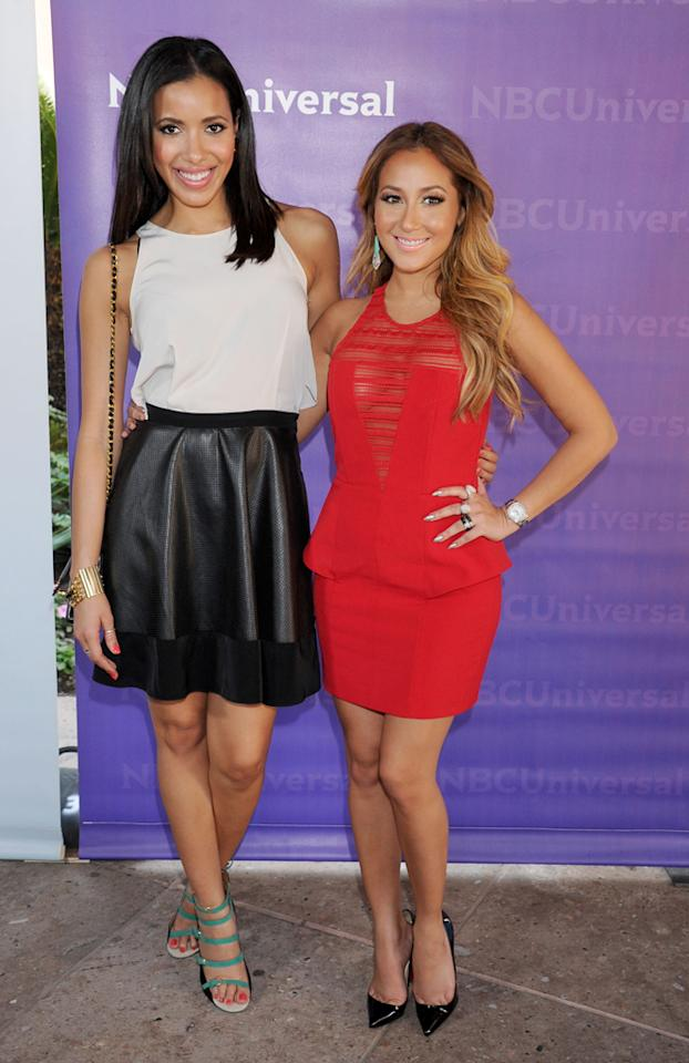 "Julissa Bermudez and Adrienne Bailon (""<a href=""http://tv.yahoo.com/empire-girls-julissa-adriene/show/48525"">Empire Girls</a>"") arrive at NBC Universal's 2012 Summer Press Day at The Langham  Huntington Hotel and Spa on April 18, 2012 in Pasadena, California."