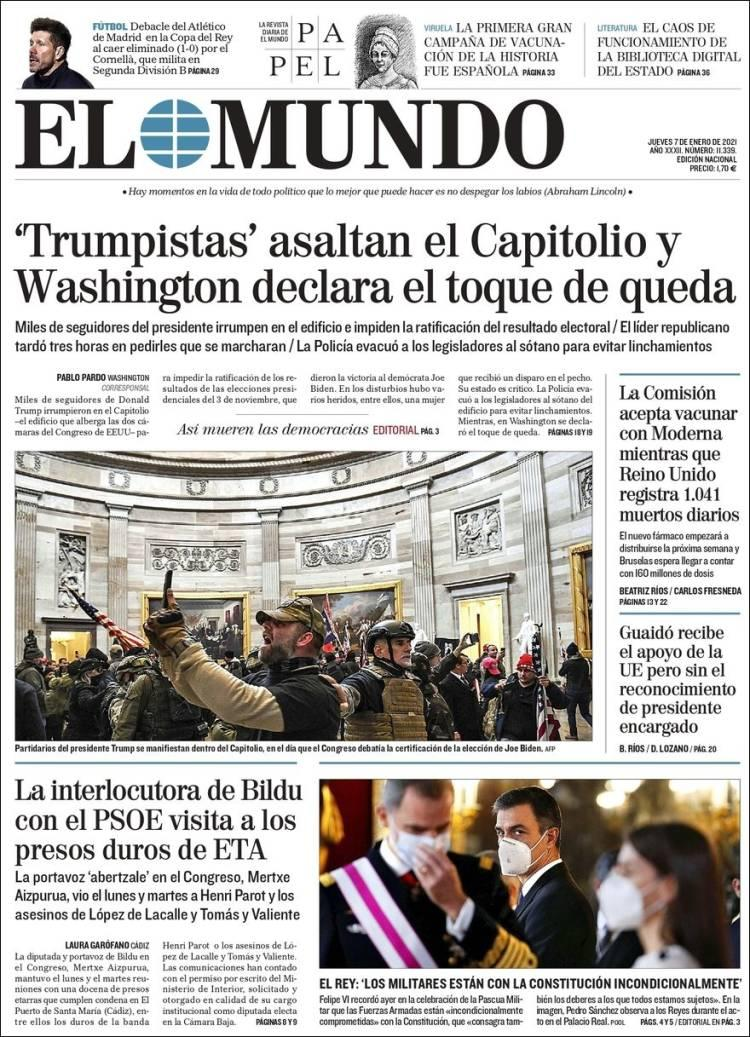 Front page of Spain's El Mundo on Thursday