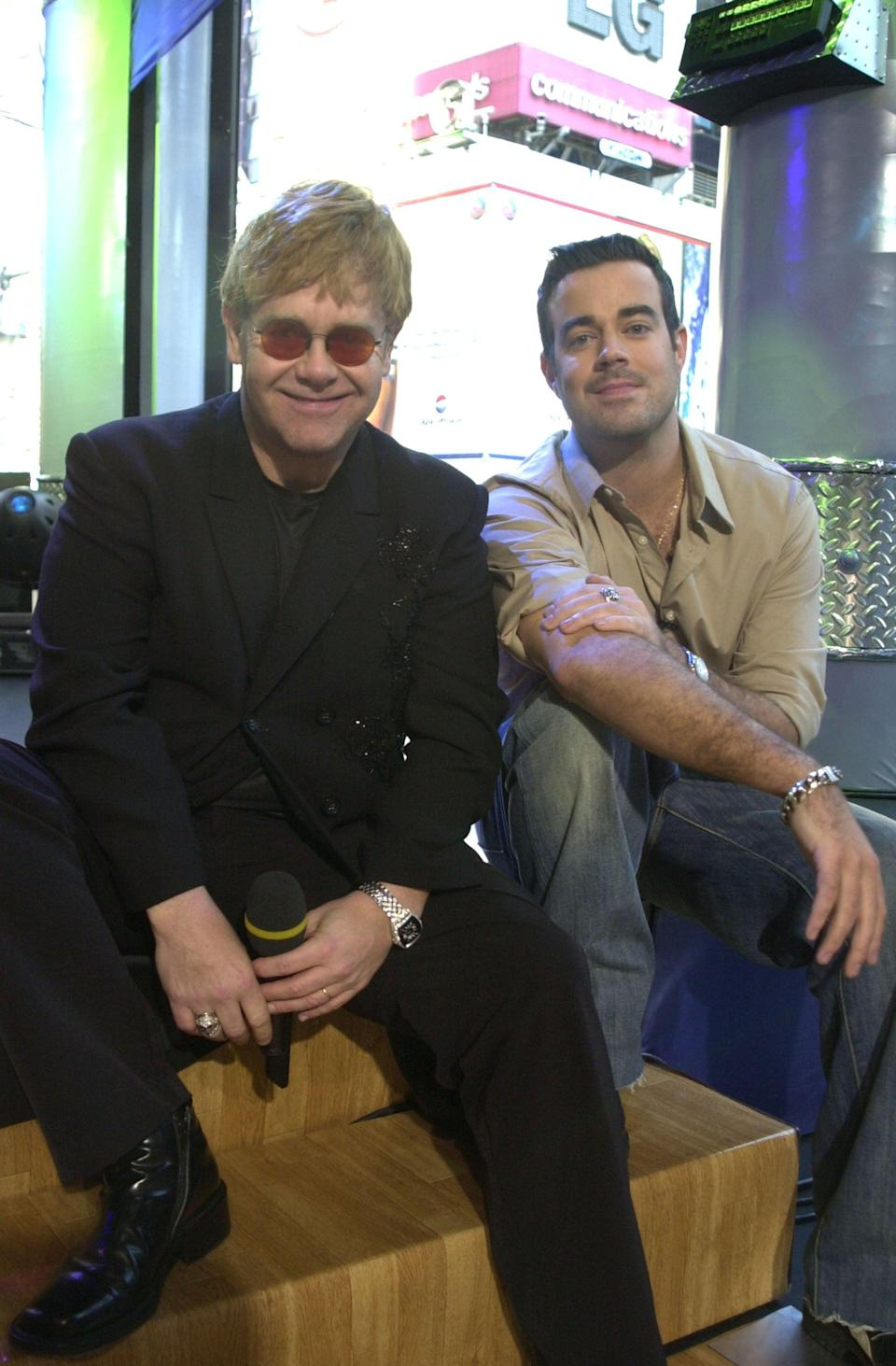 <p>Elton John visited the show in 2001, chatting with Carson Daly at <b>TRL</b>'s NYC studio.</p>