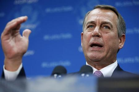 U.S. House Speaker Boehner (R-OH) addresses reporters during a news conference with fellow House Republicans at the U.S. Capitol in Washington