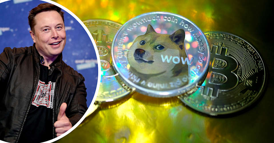 Elon Musk poses with a smile and a thumbs up with an image of the Dogecoin 'doge' in the background