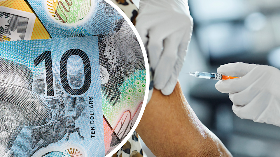 Australian cash, woman receives COVID-19 vaccine into her arm.
