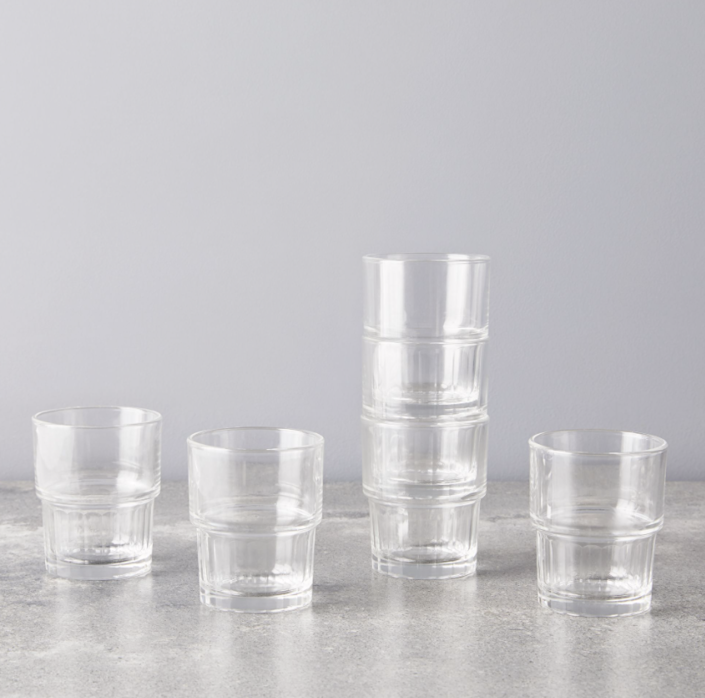 "Coming from Bormioli Rocco, Italy's largest glass manufacturer, it's clear these are classics. The beverage inside the glass gets a chance to shine, and they're affordable enough for a few stackable sets (six per set). $26, Food52. <a href=""https://food52.com/shop/products/7041-stackable-lyon-glasses-set-of-6"" rel=""nofollow noopener"" target=""_blank"" data-ylk=""slk:Get it now!"" class=""link rapid-noclick-resp"">Get it now!</a>"