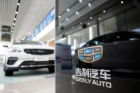 The Geely logo is seen at a car dealership in Shanghai