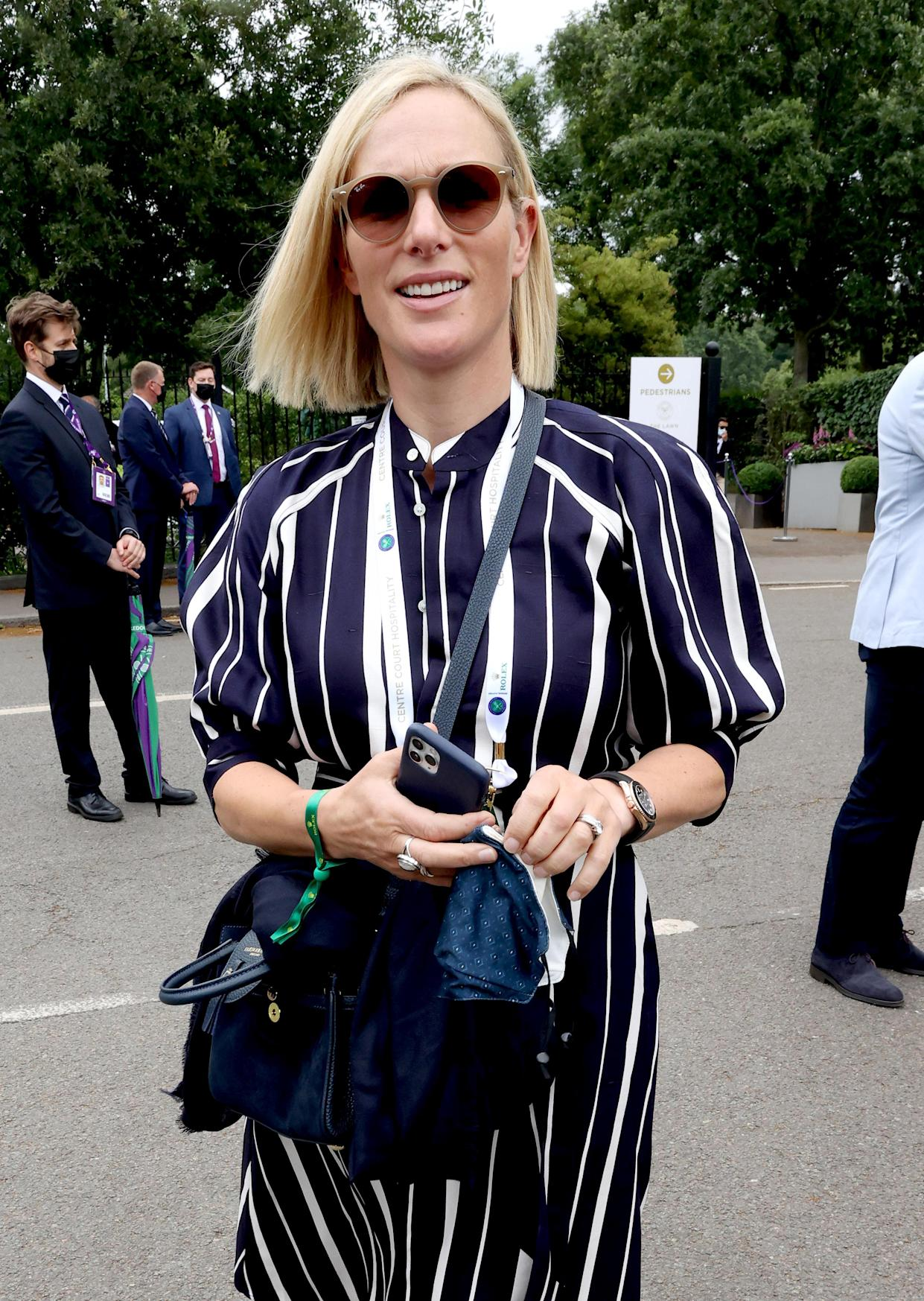 LONDON, ENGLAND - JULY 07: Zara Tindall attends Wimbledon Championships Tennis Tournament at All England Lawn Tennis and Croquet Club on July 07, 2021 in London, England. (Photo by Karwai Tang/WireImage)