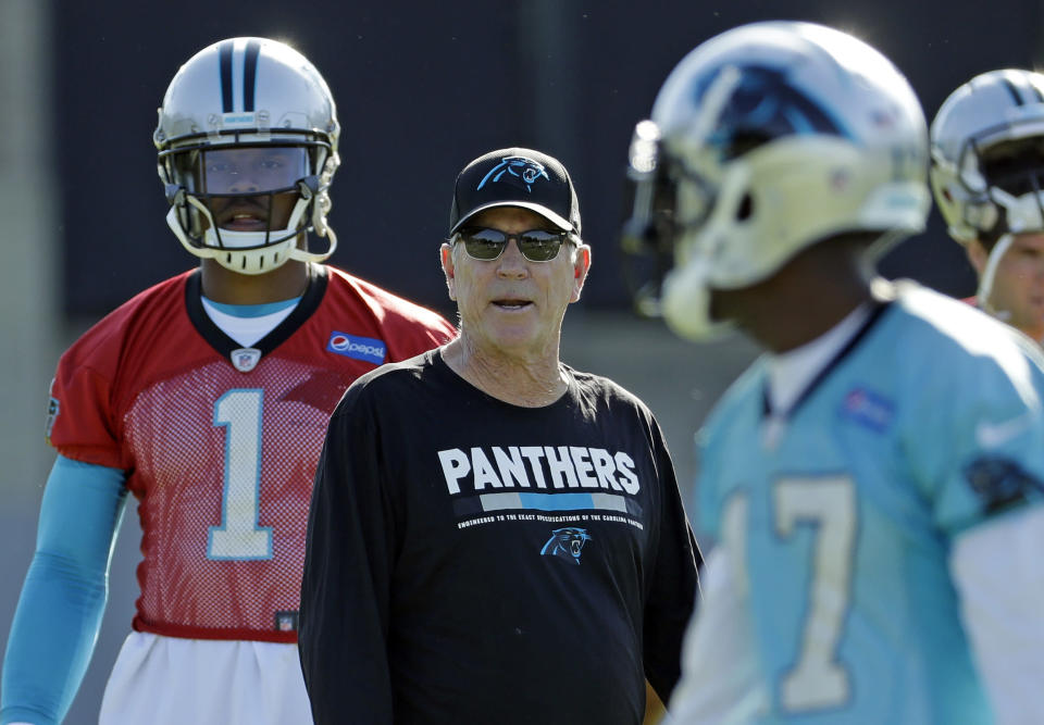 Panthers offensive coordinator Norv Turner, center, talks with Cam Newton (1) and Devin Funchess (17). (AP)