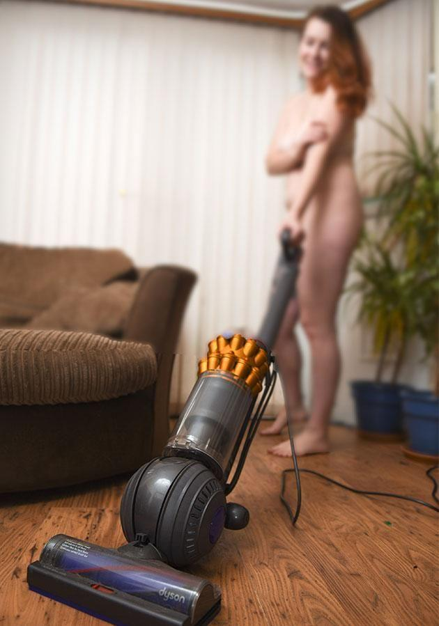 It's just as easy to vacuum naked as it is wearing clothes. Source: Caters News