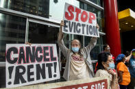 Housing advocates protest outside Governor Andrew Cuomo's office on the eviction moratorium on Wednesday, Aug. 4, 2021, in New York. After a federal eviction moratorium was allowed to lapse this weekend, the Centers for Disease Control and Prevention issued a new moratorium Tuesday on evictions that would last until Oct. 3. (AP Photo/Brittainy Newman)