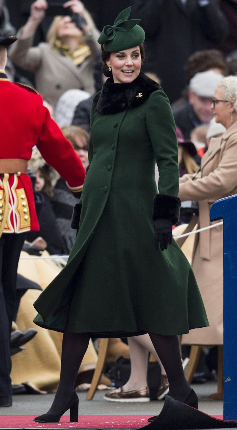 WHO: Catherine, Duchess of Cambridge WHAT: Catherine Walker, Gina Foster hat, Kiki McDonough earrings, Troy London collar, Cornelia James gloves, Tod's shoes WHERE: At the St. Patrick's Day Parade, Hounslow, England WHEN: March 17, 2018